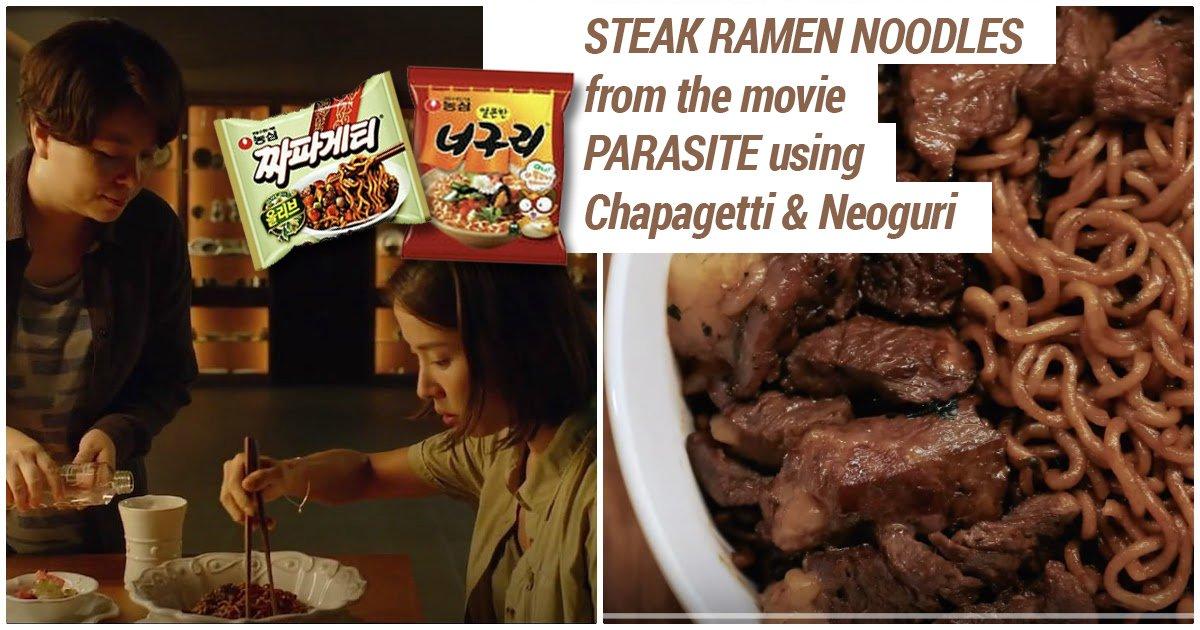 Jjapaguri with steak